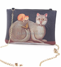 Personalized women handbags high quality CAT print lady bag waterproof 100%
