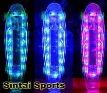 """2015 """"HOT BRIGHT PINK DECK / LED LIGHT WHEELS """" 22"""" Penny Style Skate Board"""