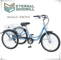 pedal richshaw cargo tricycle with three wheels folding basket GW 7015