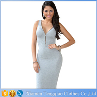New Fashion Women Cute Casual Elegant V Neck Midi Dress