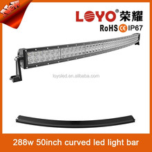 """Wholesale price 50"""" 288w curved led light bar combo offroad driving ATV SUV trucks"""
