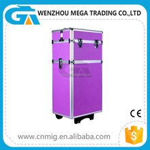 Custom Moveable Professional Beauty Aluminum Cosmetic Case With Wheels