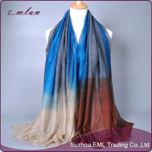 Wholesale glittery gradient color matching women voile shawls