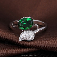2015 Brass Material Mirco Pave Beautiful Green Zircon Ring