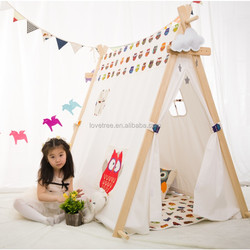 Baby Play Toy indoor tent outdoor camping children cotton Indian kids Wood frame Teepee