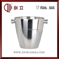 round stainless steel ice bucket with stand