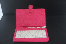 carved surface leather case with multilingual keyboard for tablet pc