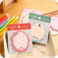 Hot Sale korean stationery fresh design flower note paper memo pad cute sticky notes