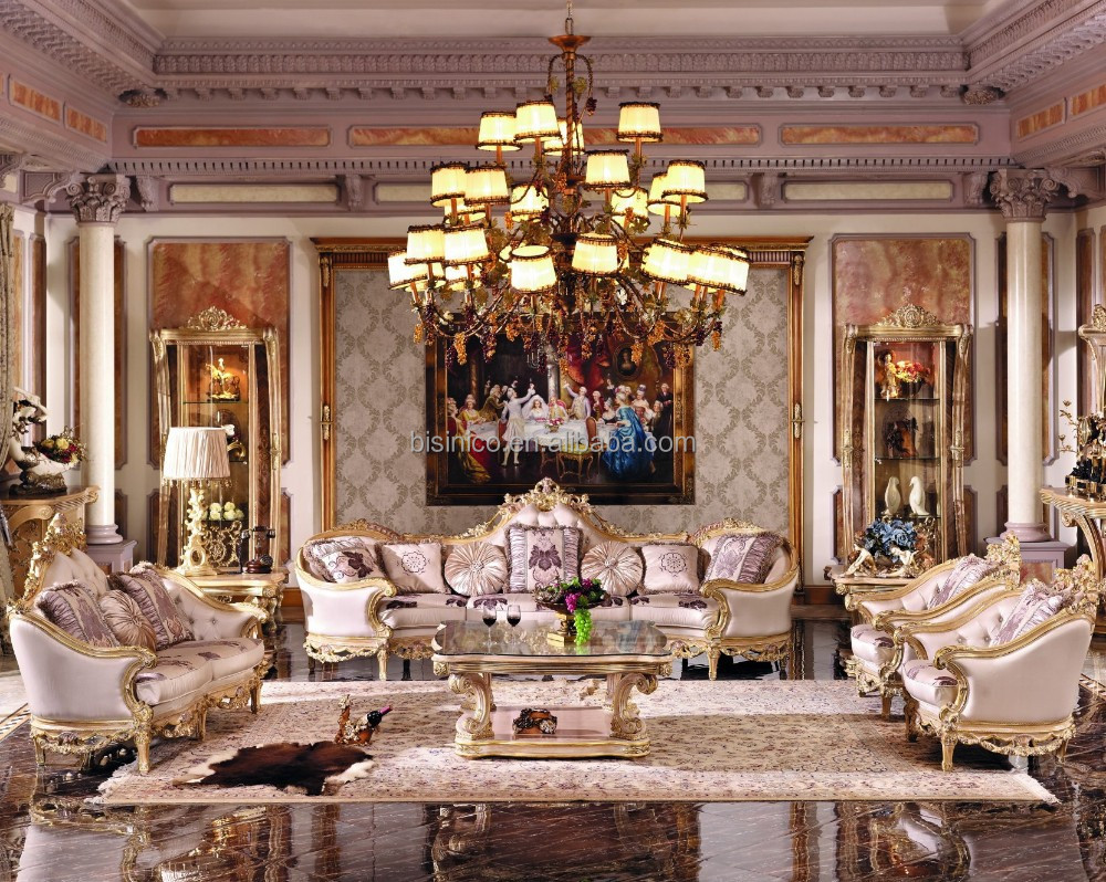 French New Baroque Classic Living Room Sofa Set Royal Palace Hand Carved Beige Sofa European
