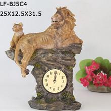 resinic lion clock ,clock figurine resin polyresin,table clock