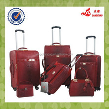 Hot Selling Red Color Women PU Material Luggage Four Spinner Wheels With Duffel Bag Fancy Luggage