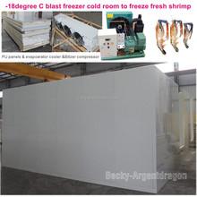 -18degree C blast freezer cold room to freeze fresh shrimp