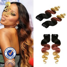 2015 Hot Fashion Hair Products Brazilian Ombre Hair Weave,Colored Two Tone Body Wave Human Hair Extensions