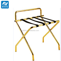 portable gold stainless steel hotel luggage rack with shelves