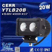 "Y&T 5.5"" 20W Spot LED Work Light Bar Single Row High Intensity Alloy Driving Light Lamp Off Road 4x4 for Jeep RV SUV ATV UTV"