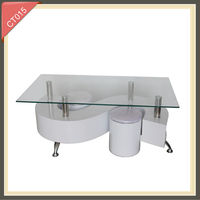 bent glass luxury hardware extendable stainless steel coffee table
