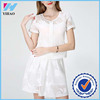Yihao 2015 Summer New Fashion Lastest Design Ladies Short Sleeve Blouse White Sexy Casual Skirt Dress For Women