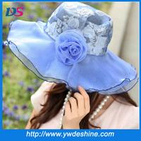 """2014 hot breathable ladies wide brim floppy beach sun visor hat gauze lace flower applique for women sombrero 22-28"""" muti-color"""