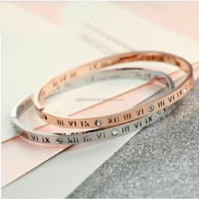 Wholesale price 316L stainless steel custom engraved bracelet with roman numerals