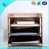 Acrylic and Wood A4 file trays display stand for office