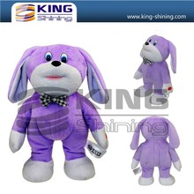 Factory price OEM service lovely purple dog toys, musical and dance plush toys for gifts.