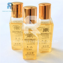 New design high quality gold plated cap 30ml hotel shampoo bottle
