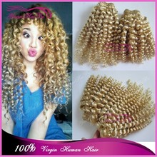 Hot new product Grade 7A #163 tight curl virgin brazilian hair blonde curly remy weft hair