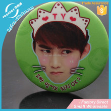 2015 China manufacturer custom promotional gifts Color Printing Custom Round Tin button badge