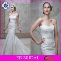 2015 Custom Made High Waist Crystal Belt Sweetheart Mermaid Lace Wedding Apparel