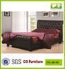 brown Europe style modern leather bed with crystal buttons