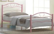 Pink color metal frame single bed