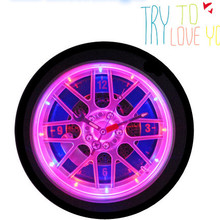 BY-608Q-3D 10 Inch Modern Trend Decor Tyre Design LED Battery Wall Clock