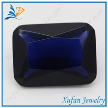 rectangle shape glass gems synthetic stone blue sapphire