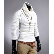 New Men's Long Sleeve Turtleneck T-shirt Tee Top 6 Colors white 4 Size 3513