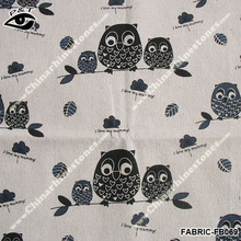 Night Owl Design 100% linen fabric linen fabric wholesale small minimum request