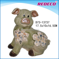 Small ceramic garden pig outdoor decor