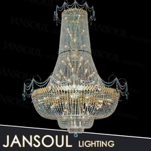 2015 popular zhongshan lighting factory large cheap plastic multi colored glass crystal empire chandelier
