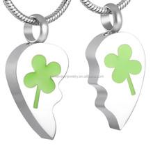 SRP8426 Broken Heart Pendant Clover Engraved Memorial Jewelry for Couple Keepsake Necklace Stainless Steel Urn Pendant