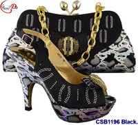 CSB1196 Black New designs of low heels shoes/sandals/slippers women shoes matching bag for wedding/party