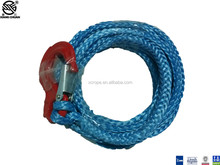 7mm x 7mtrs UHMWPE synthetic winch rope with stainless steel snap hook