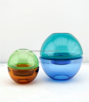 Mouth blown colorful ball shaped glass candle holder /glass tealight holder