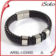 hand make stainless steel with leather, black leather bracelet