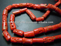 AAA High Quality Natural Italian Coral Gemstone Tube Shape Beads Wholesale Price