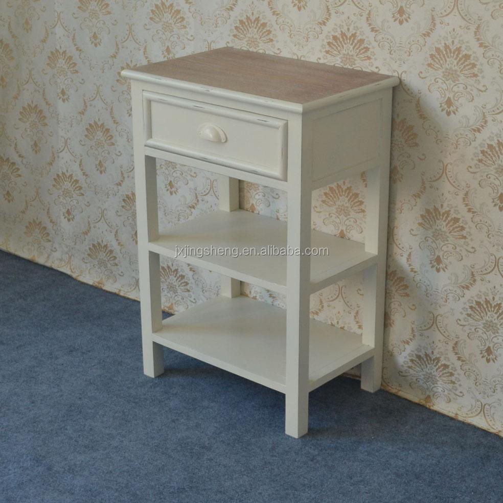Shabby chic franse stijl witte enkele lade nachtkastje salontafels ...