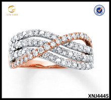 Alibaba Wholesale Sterling Silver Two Tone Criss Cross Ring