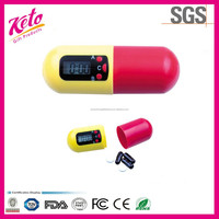Small Capsule shape Timing Alarm Electronic Pill Box With Keychain