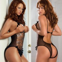 Women Sexy Hot Black Underwear Lace Babydoll Lingerie sexy See Through Sleepwear SV004024