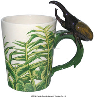 Hot sale Horned Beetle with Decal Shaped Handle promotion Mug