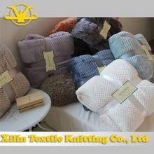 Soft honeycomb pattern jacquard knit flannel blanket