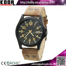Mens Fashion Brown Leather Band Analog Quartz Men's Military Sport Wrist Watch